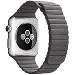 Apple Band 42mm Storm Gray Leather - L