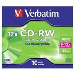 Cdrw Recorder Media 700MB 80min 10x-12x Datalife Plus Hi Speed 10-pk With Jewel Case