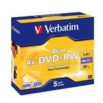 Mini DVD-rw Media 1.4GB 4x 5-pk With Jewel Case