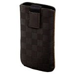 Velvet Pouch Square Mobile Phone Sleeve, Brown, Size L